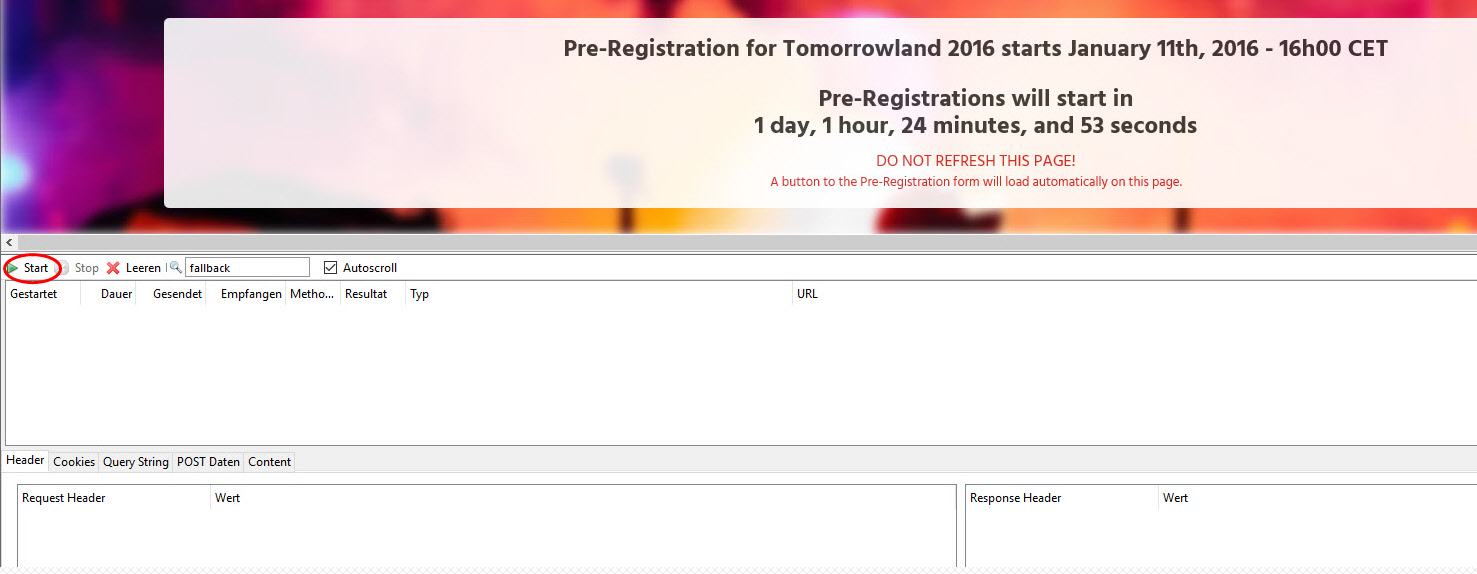 Use HTTPFOX for Tomorrowland ticket shop