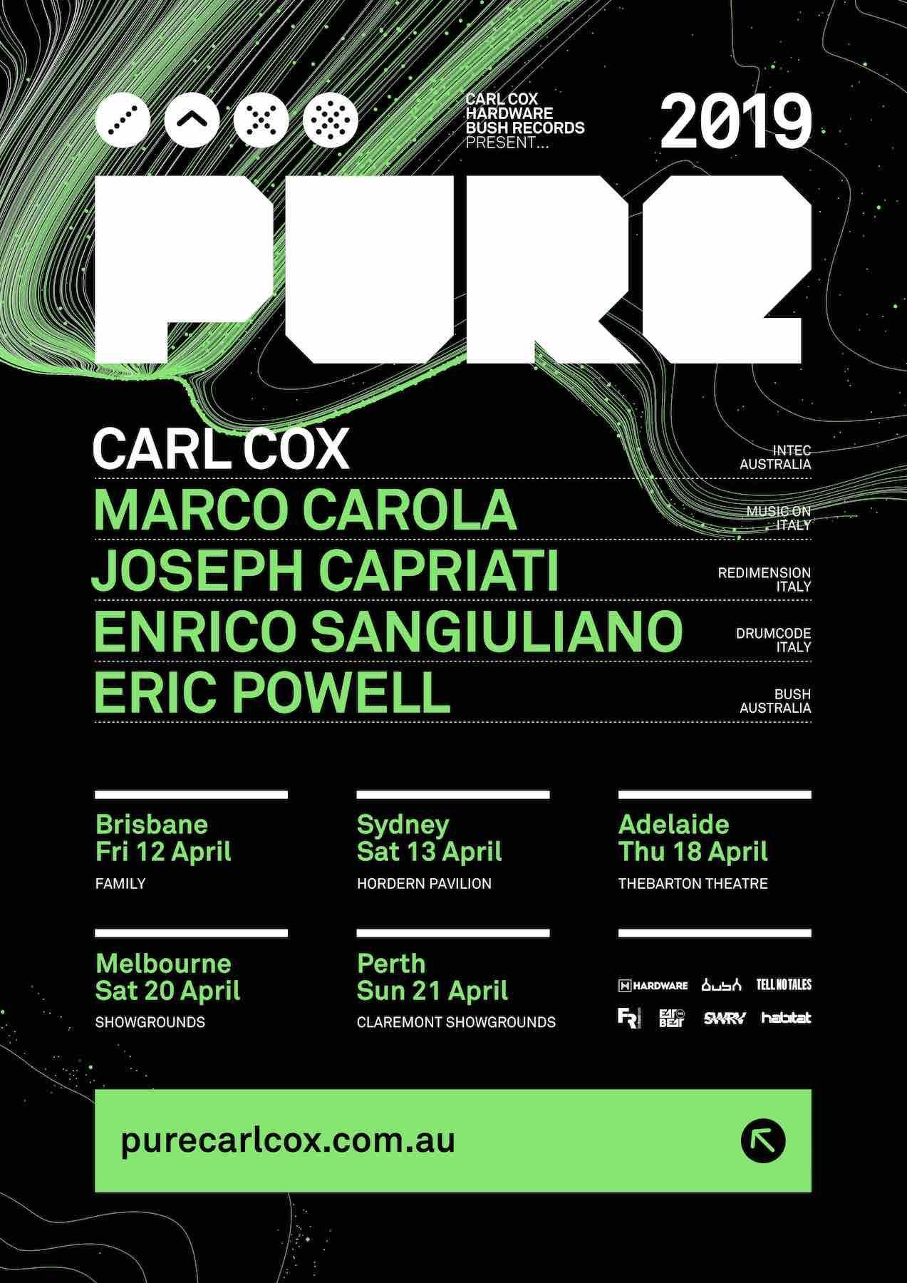 LINEUP & TOUR DATES: Carl Cox presents PURE 2019   ELECTRONIC